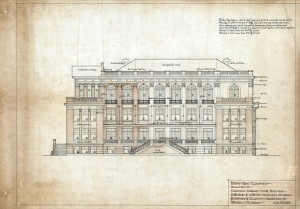 M. Leo Elliott's drawing of the front elevation of the Cuban Club, 2010 Avenida Republica de Cuba, Ybor