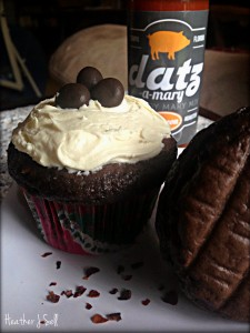 Chocolate Cupcakes with a Nip of Datz-a-Mary Bacon Bloody Mary Mix