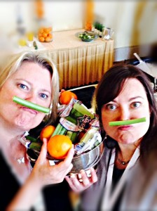 Heather Sell and Angela Litzinger rocking the celery mustaches and orange accessories.