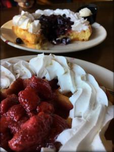 huckleberry strawberry waffles