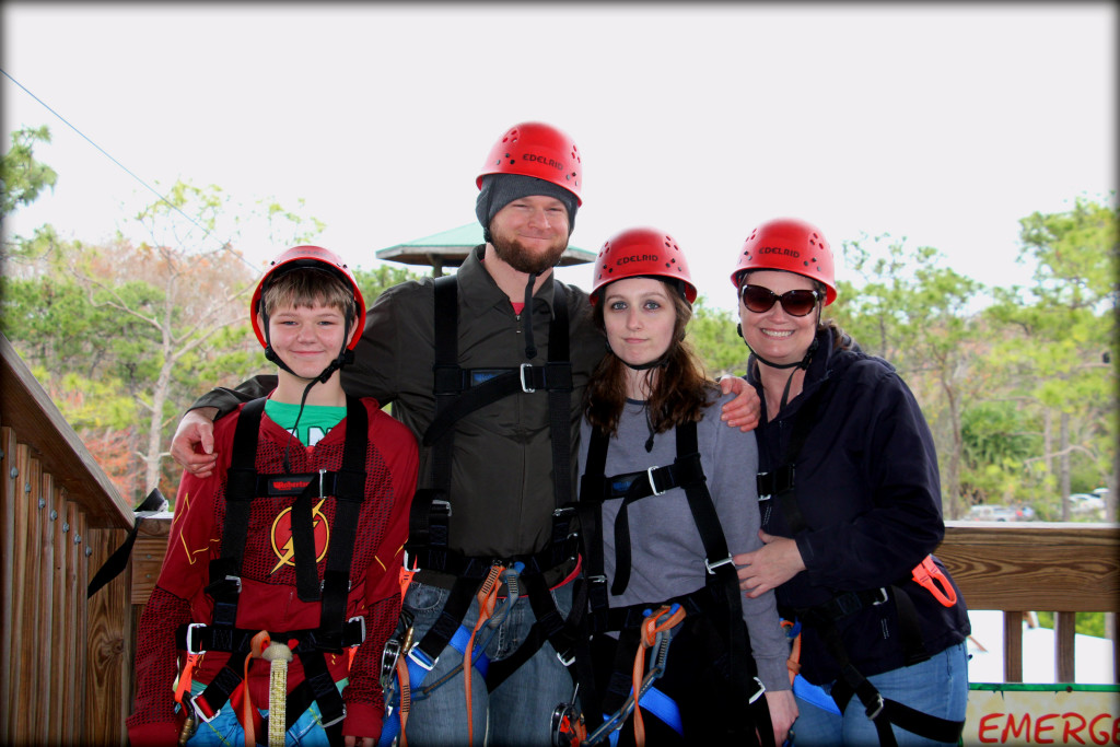 image family preparing to zipline
